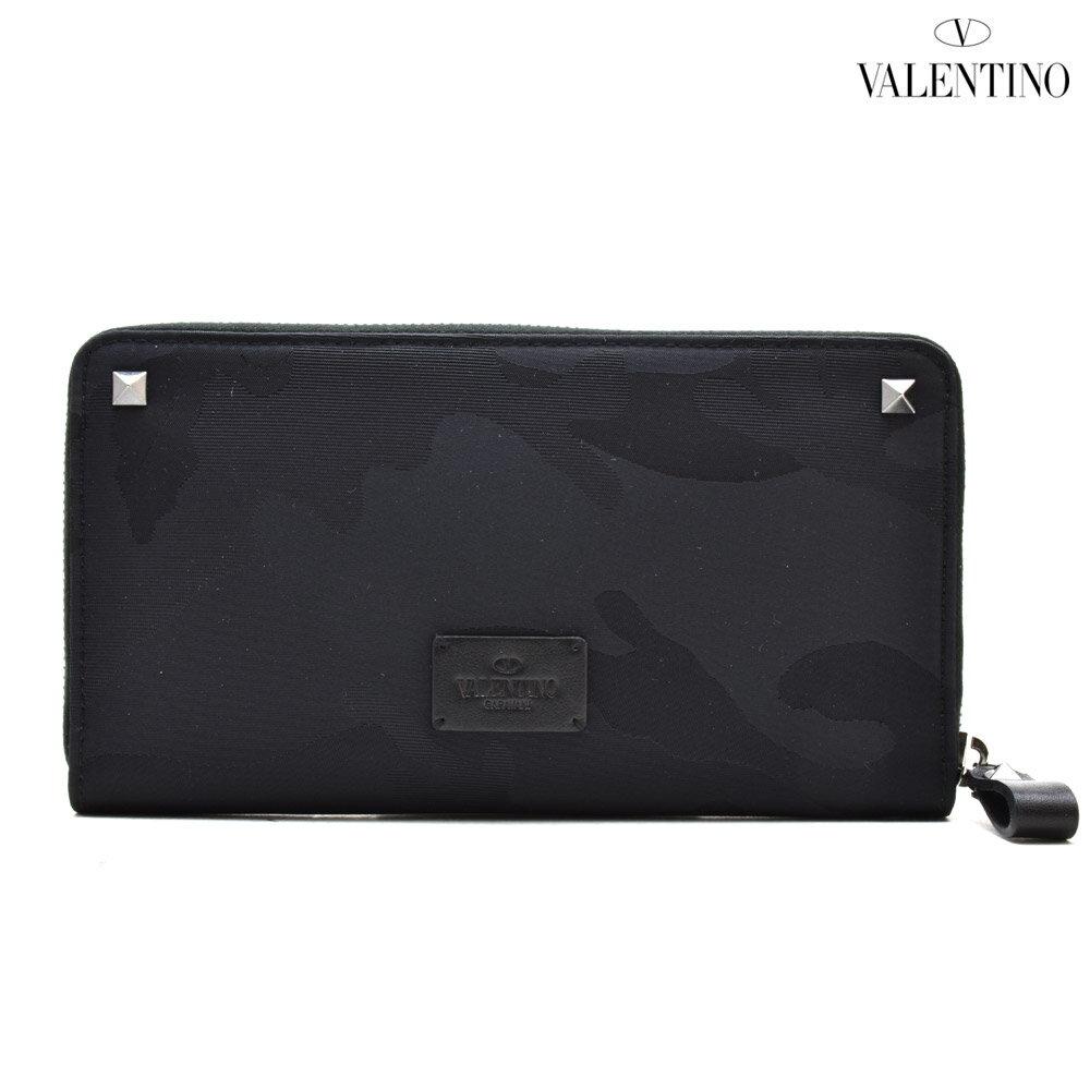 ヴァレンティノ VALENTINO NY2P0570 NAI/0NO ラウンドファスナー長財布 迷彩 カモ柄 カモフラージュ柄 ブラック 黒 BLACK メンズ【送料無料】
