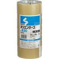 オリエンテープ No.830 50mm×50m 透明 1セット(50巻:5巻×10パック)