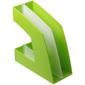 ソニック ファイルボックス 仕切板付 A4タテ 背幅107mm グリーン FB−708−G 1個