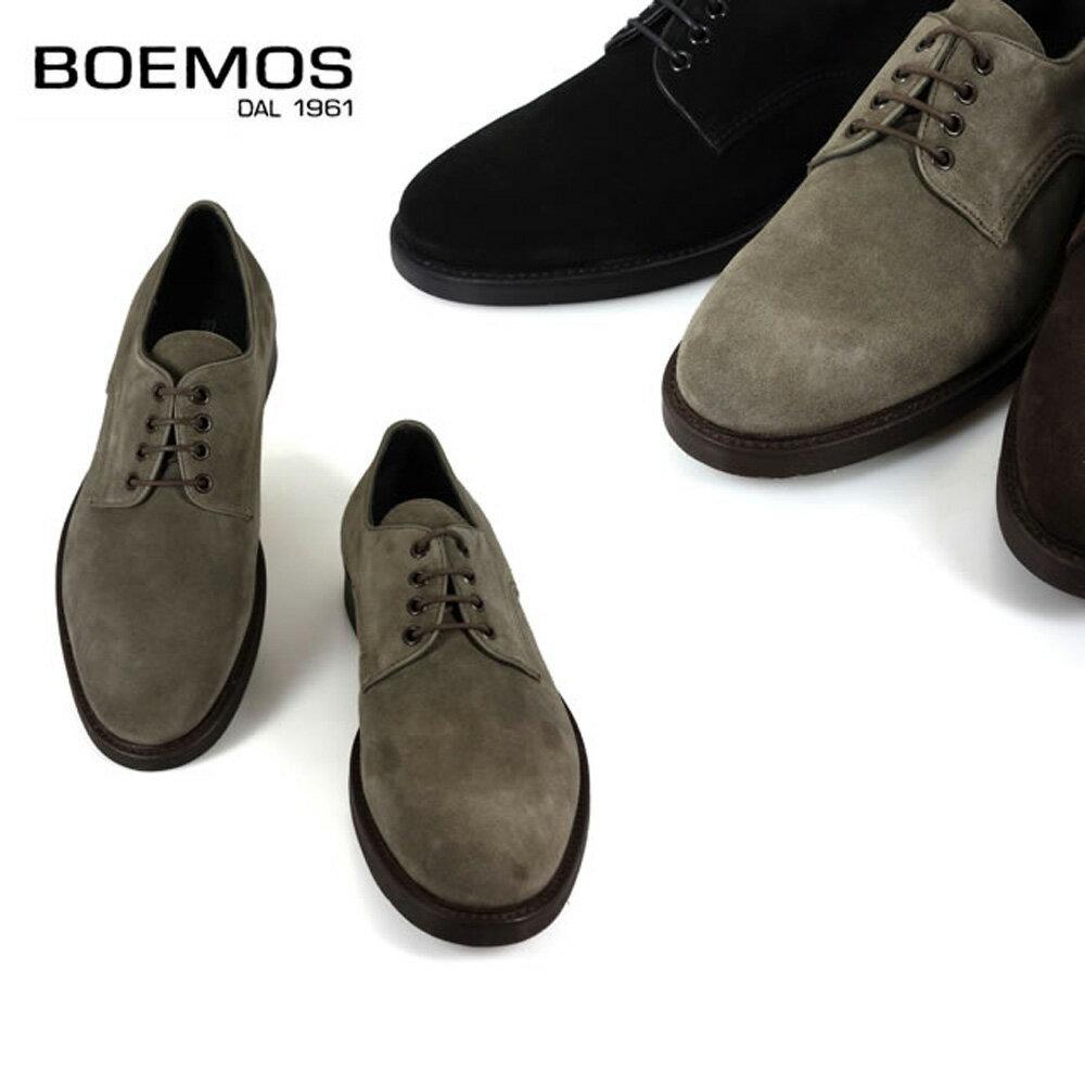 BOEMOS ボエモス l3-4010 メンズ スエード プレーントゥ シューズ ダークブラウン 本革 イタリア製 革靴 紳士靴