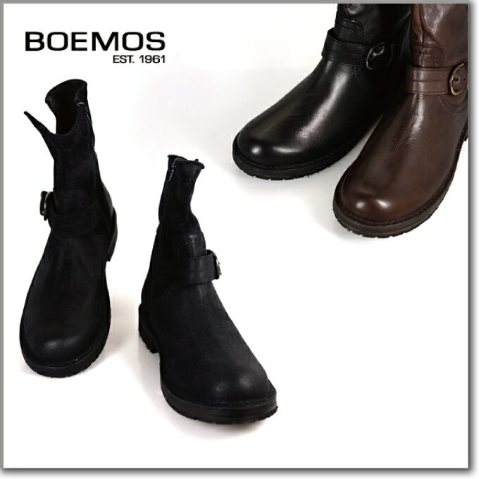 BOEMOS (ボエモス) l3-1068 FIGARO NERO メンズ エンジニアブーツ サイドジップ ブラックレザー 本革 イタリア製 革靴 紳士靴[co-3]
