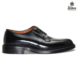 Alden ALDEN 9901 PLANE TOE BLUCHER CORDVAN BLACK SHELL Alden plain to Bratcher black shell cordovan 9901