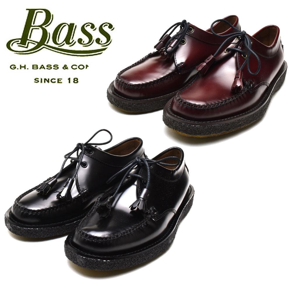 バス G.H.BASS TIE CREPE メンズ ウィージャンズ タイクレープ タッセル モック レザー シューズ ブラック ワイン 革靴【送料無料】