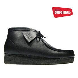 クラークス ワラビーブーツ ブラック レザー 黒 CLARKS WALLABEE BOOT 35401 26103666 BLACK メンズ[co-3]