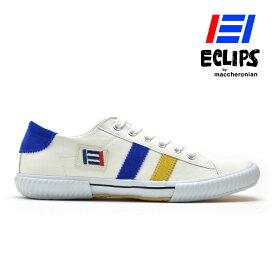 【ポイント10倍】 エクリプス ECLIPS スニーカー メンズ ホワイト イエロー ブルー 白 黄 青 エクリプス マカロニアン 42013