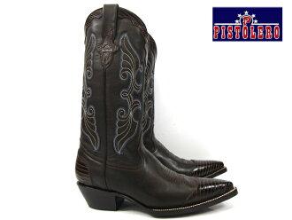佩斯西部靴 3002 深棕色白色 × 蓝针 pistoleros 西部靴 x 蓝针刺绣暗棕色白色