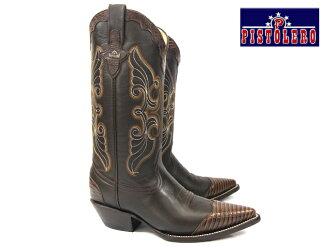 Pistoleros PISTOLERO 8001 西方靴/牛男孩暗棕色 python × 皮牛仔靴暗棕色牛仔靴皮革刺绣针法