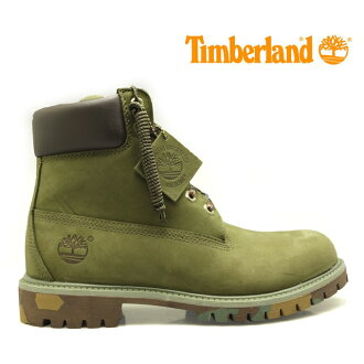Timberland ICON 6IN PREMIUM BOOT ARMY GREEN NUBUCK WITH CAMO OUTSOLE TB06716B mens boots 6 inch premium boots