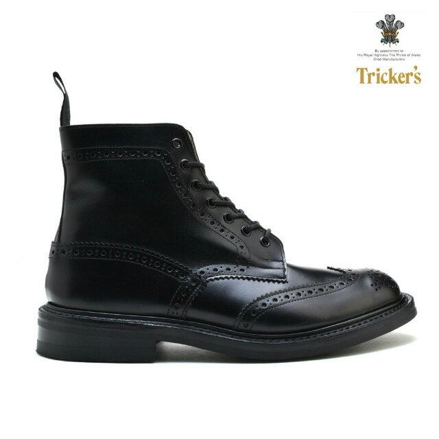 トリッカーズ カントリーブーツ ブラック ボックス カーフ 黒 TRICKER'S MALTON STOW BLACK BOX CALF M2508 M5634 モルトン ストウ ダイナイトソール ウィングチップ ブローグシューズ