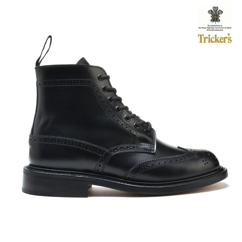 トリッカーズ TRICKERS カントリーブーツ COUNTRY BOOT L5676 ダブルレザーソール BLACK BOX CALF ウィングチップ レディース