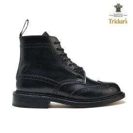トリッカーズ TRICKER'S カントリーブーツ COUNTRY BOOT L5676 ダブルレザーソール BLACK BOX CALF ウィングチップ レディース