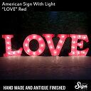 アメリカンサイン ウィズ ライト 「LOVE」(ラブ) 【カフェ、インテリア、照明、オブジェ、アメリカ】
