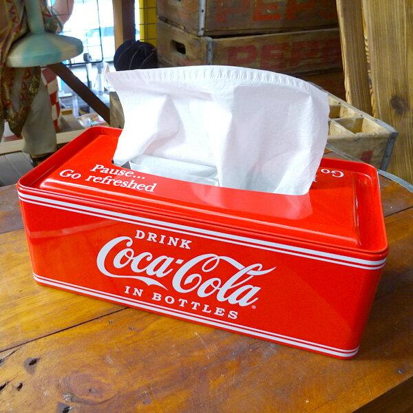 ティッシュケース ティシュカバー おしゃれ コーラ COCA-COLA BRAND コカコーラブランド ティンボックスティシュケース PJ-TC01 インテリア ブリキ製 アメリカン雑貨