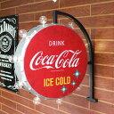 ダブルサイド マーキーサイン 「アイス コールド コカコーラ ラウンド」 オフ・ザ・ウォール LEDサイン Coca-Cola レトロ アンティーク…