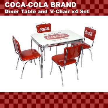 COCA-COLABRANDコカコーラブランドダイナーテーブル&Vバックチェア×4脚セット(PJ-600DLPJ-50HC×4)インテリア家具アメリカ雑貨アメリカン雑貨