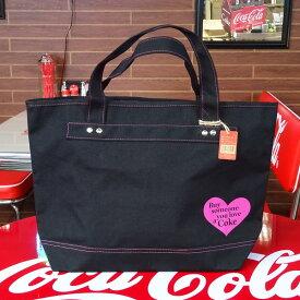 COCA-COLA BRAND コカコーラブランド rPET キャンバストートバッグ (Heart Black ) かばん コーラ雑貨 アメリカ雑貨 アメリカン雑貨
