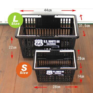 マーケットバスケットLサイズ<ROUTE66>買い物かご収納アメリカ雑貨アメリカン雑貨