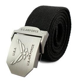 メンズ ベルト GIベルト US AIR FORCE (ブラック) コットン&ポリエステル ミリタリー アメリカン雑貨