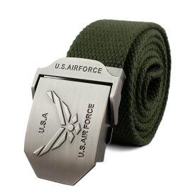 メンズ ベルト GIベルト US AIR FORCE (カーキ) コットン&ポリエステル ミリタリー アメリカン雑貨