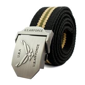 メンズ ベルト GIベルト US AIR FORCE (ストライプ:ブラック×ベージュ) コットン&ポリエステル ミリタリー アメリカン雑貨