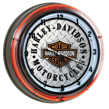 【HARLEY-DAVIDSON】ハーレーダビッドソンダイアモンドプレートネオンクロックHDL-16611