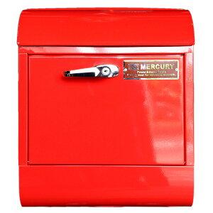 壁面用ポスト Mercury マーキュリー メールボックス ハンドルロック レッド 鍵付き おしゃれ アメリカンデザイン 郵便受け