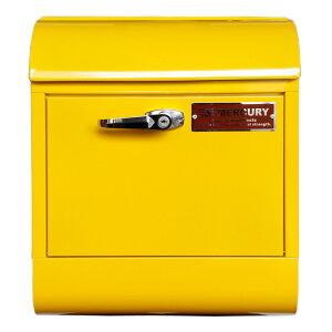壁面用ポスト Mercury マーキュリー メールボックス ハンドルロック マスタード 鍵付き おしゃれ アメリカンデザイン 郵便受け