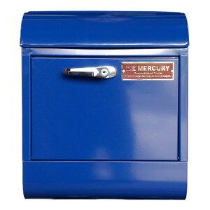 壁面用ポスト Mercury マーキュリー メールボックス ハンドルロック ネイビー 鍵付き おしゃれ アメリカンデザイン 郵便受け