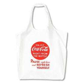 Coca-Cola コカ・コーラ エコバッグ Mサイズ Pause/ホワイト PJ-ECO06 おしゃれ 買い物バッグ トートバッグ 収納ポケット アメリカン雑貨 rPET ECO BAG