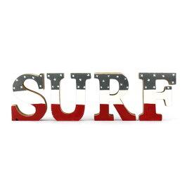 アルファベットブロック 「SURF」 (USAフラッグ柄レッド ) Days of ALOHA ハワイアン雑貨 西海岸インテリア アメリカ雑貨 アメリカン雑貨