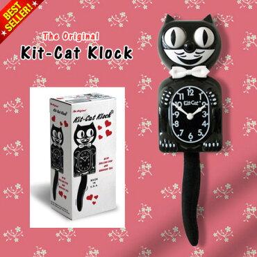 TheOriginalKit-CatKlockオリジナルキットキャットクロック(ブラック)【レトロインテリア/キッチン/ビンテージ/壁掛け時計/振り子時計/アメリカ製/アメリカン雑貨】