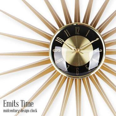 EmitsTimeエミッツタイム直径60cm/サンバーストクロック/壁掛け時計・ウォールクロック/アメリカン雑貨/