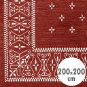 バンダナラグ 「Cross」 バーガンディ 200×200cm ラグマット カーペット 敷物 アメリカ雑貨 アメリカン雑貨