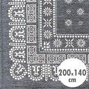 バンダナラグ 「Flower」 グレー 200×140cm  /ラグマット/