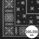 バンダナラグ 「Arrow」 ブラック 200×200cm ラグマット カーペット 敷物 アメリカ雑貨 アメリカン雑貨