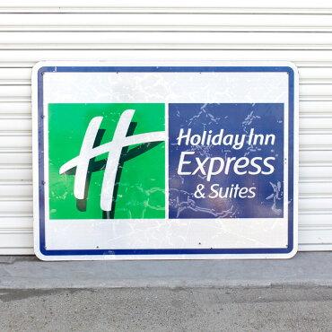 直輸入USEDロードサイドサインHolidayInnExpress&Suits(片面)H92×W122cmガレージディスプレー大型看板店舗看板アメリカ雑貨