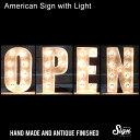 アメリカンサイン ウィズ ライト OPEN :インパクトフォントタイプ 店舗装飾 インテリア 照明 アメリカ雑貨 アメリカン雑貨