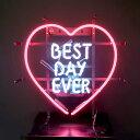 ネオンサイン / BEST DAY EVER ピンクのハート型 インテリア ネオン管 アメリカン インテリア 電飾 店舗 アメリカ雑貨