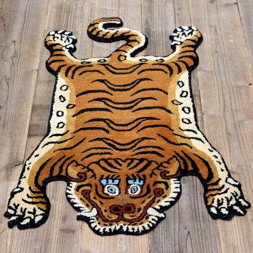 チベタンタイガーラグDTTR-01Mミディアム長さ130×幅75cmラグマット玄関マットリビングトラ敷物アメリカ雑貨アメリカン雑貨