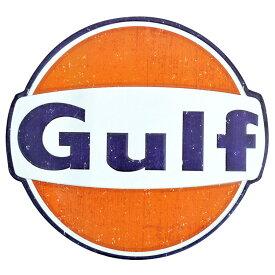 ダイカットメタルサイン Gulf Old ガルフ オールド (ラウンド) 縦28×横30cm ブリキ看板 インテリア アメリカ雑貨 アメリカン雑貨