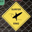 スティールサイン「SURFER XING」 V-366  /サーファー/ハワイアン/メタルサイン・看板/アメリカン雑貨/