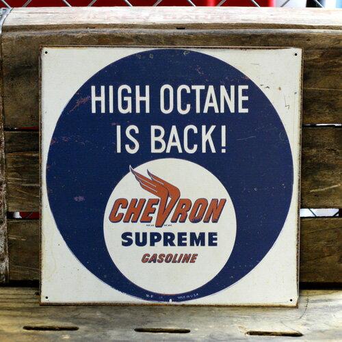 ヴィンテージメタルサイン <CHEVRON SUPREME GASOLINE HIGH OCTANE IS BACK! シェブロン シュプリームガソリン> (サビ加工 ) (30.6×30.6cm ) アメリカ雑貨 アメリカン雑貨