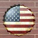 王冠型メタルサイン 「American Flag Embossed」 直径40cm #148851 /星条旗柄/ブリキ看板/ガレージング/アメリカン雑貨/