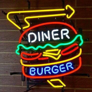 ネオンサイン/BURGERDINERバーガーダイナー【ネオン管、レストラン、ファーストフード、ガレージング、アメリカン雑貨】