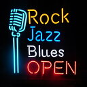 アメリカンネオンサイン Rock Jazz Blues OPEN ロック柄 BAR ライブハウス ネオン管 NEON アメリカ雑貨 アメリカン雑貨