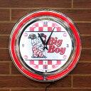 ダブルネオンクロック「ビッグボーイ」 (レッド×ホワイト ) BIGBOY 壁掛け時計 (ウォールクロック ) インテリア アメリカ雑貨 ア…