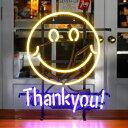 アメリカンネオンサイン Smile Thank you! 縦53×横43cm スマイル ガレージ インテリア ネオン管 電飾 店舗装飾 アメリカ雑貨 アメリカ…