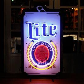 アメリカンネオンサイン Miller Lite (OFFICIAL NEON) 縦80×横45cm ミラービール ガレージ インテリア ネオン管 電飾 店舗装飾 アメリカ雑貨 アメリカン雑貨