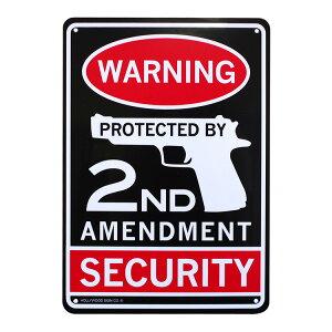 プラスチックメッセージサインボード WARNING SECURITY CA-69 国民が武器を保有する権利 アメリカ雑貨 看板 店舗装飾
