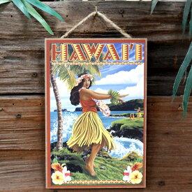 ハワイアン ウッドプラーク 「Hawaii Hula Girl on Coast」 LP34143 木製看板 ハワイアン雑貨 インテリア アメリカ雑貨 アメリカン雑貨